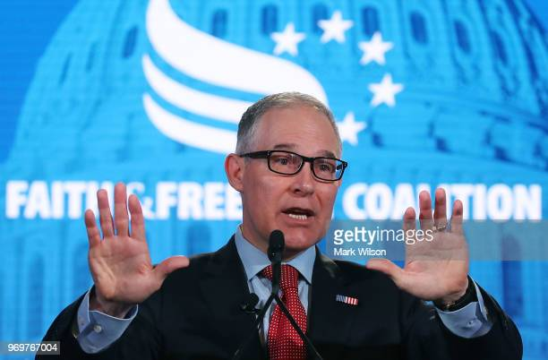 Administrator Scott Pruitt speaks at the Faith and Freedom Coalition Road to Majority Policy Conference at the Omni Shoreham Hotel on June 8 2018 in...