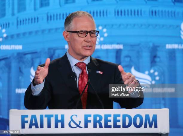 Administrator Scott Pruitt speaks at the Faith and Freedom Coalition Road to Majority Policy Conference, at the Omni Shoreham Hotel, on June 8, 2018...
