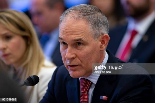 Administrator Scott Pruitt testifies before the House Appropriations Committee during a hearing on the 2019 Fiscal Year EPA budget at the Capitol on...