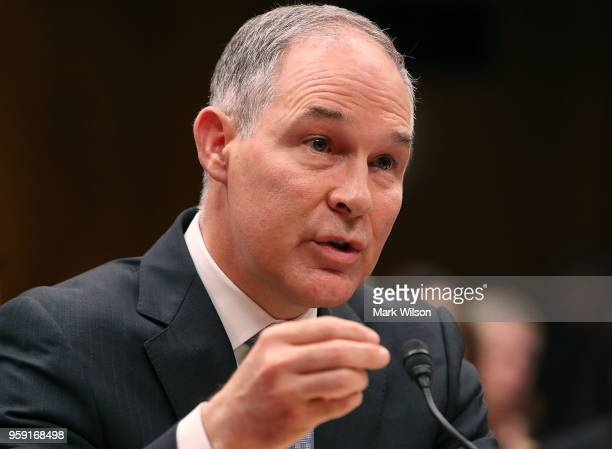 Administrator Scott Pruitt, testifies during a Senate Appropriations Subcommittee hearing on Capitol Hill, May 16, 2018 in Washington, DC. The...