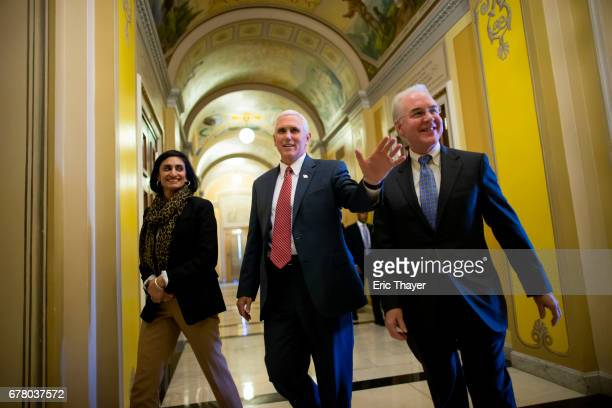 Administrator Seema Verma Vice President Mike Pence and Secretary of Health and Human Services Tom Price on Capitol Hill May 3 2017 in Washington DC...