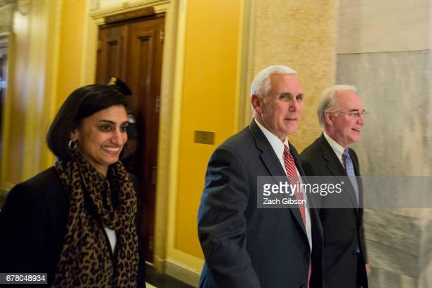 CMS Administrator Seema Verma Vice President Mike Pence and Secretary of Health and Human Services Tom Price exit a meeting on Capitol Hill May 3...
