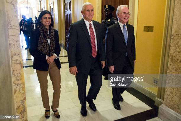 CMS Administrator Seema Verma Vice President Mike Pence and Secretary of Health and Human Services Tom Price leave a meeting on Capitol Hill May 3...