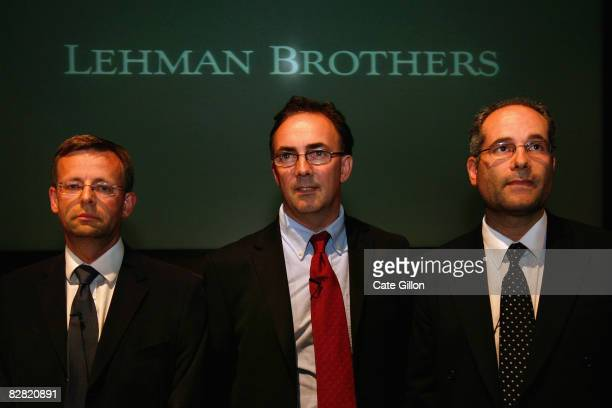 Administrators Steven Pearson Tony Lomas the leading administrator and Dan Schwarzmann from Price Waterhouse Coopers speak to reporters during a...