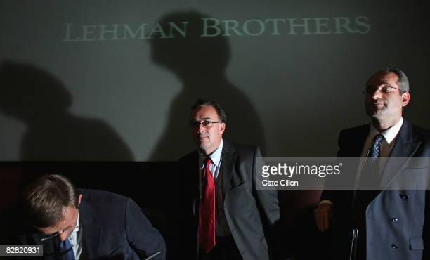 Administrators Steven Pearson Tony Lomas the leading administrator and Dan Schwarzmann from Price Waterhouse Coopers attend a press conference at the...