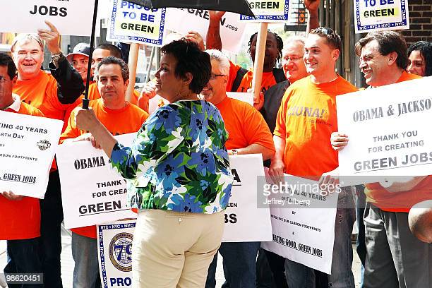 Adminsitrator Lisa P Jackson with Laborers Local 79 Green Jobs visit Late Show With David Letterman at the Ed Sullivan Theater on April 22 2010 in...