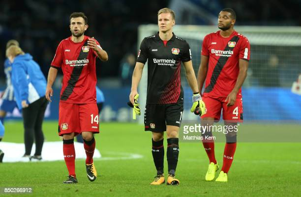 Admir Mehmedi Bernd Leno and Jonathan Tah of Leverkusen show their frustration after loosing the Bundesliga match between Hertha BSC and Bayer 04...