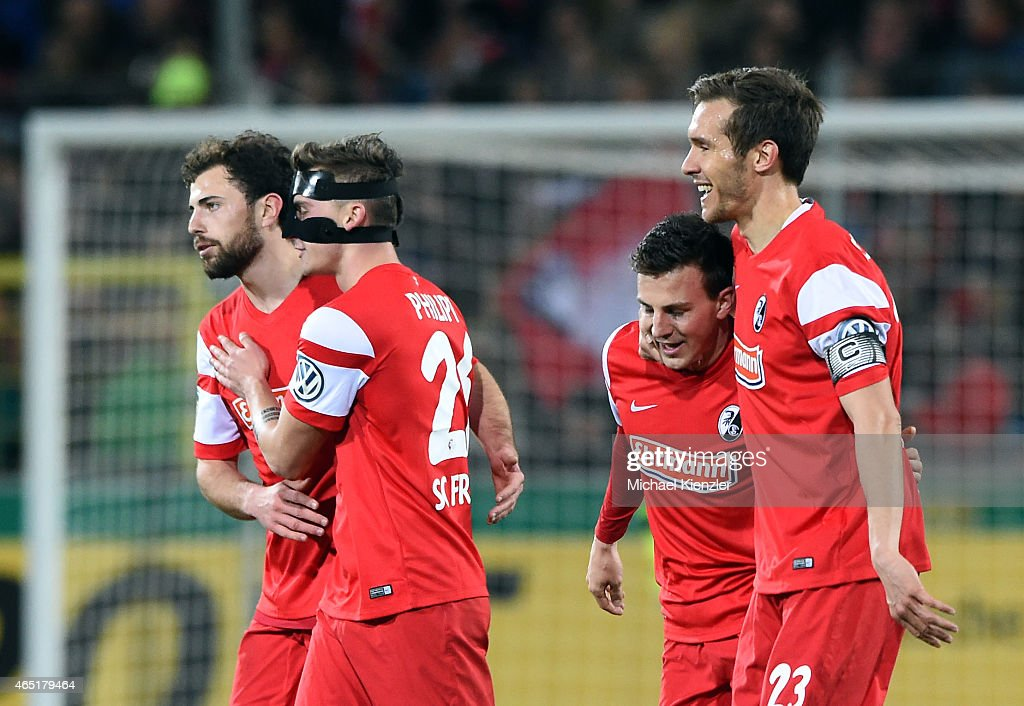 Admir Mehmedi, Maximilian Philipp, Vladimir Darida and Julian Schuster (L-R) celebrate the goal of Darida during the DFB Cup between SC Freiburg and 1. FC Koeln at Schwarzwald-Stadium on March 3, 2015 in Freiburg, Germany.