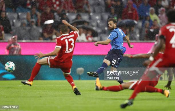 Admir Mehmedi of Bayer Leverkusen scores during the Bundesliga match between FC Bayern Muenchen and Bayer 04 Leverkusen at Allianz Arena on August 18...
