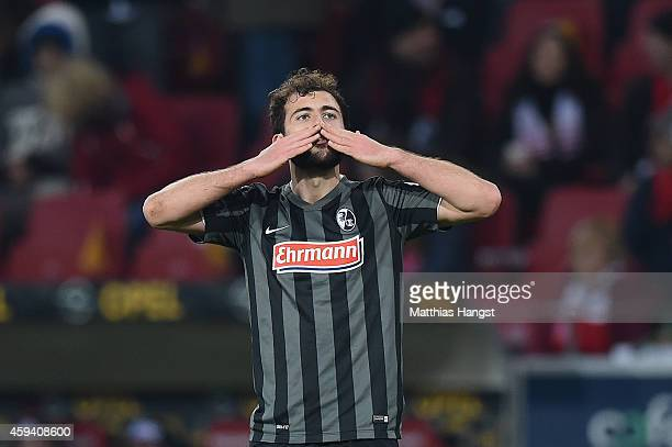 Admir Mehmedi of Freiburg celebrates after scoring his team's second goal during during the Bundesliga match between FSV Mainz 05 and SC Freiburg at...