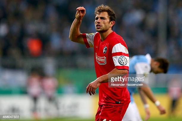 Admir Mehmedi of Freiburg celebrates scoring the second team goal during the DFB Cup second round match between 1860 Muenchen and SC Freiburg at...