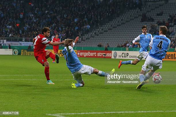 Admir Mehmedi of Freiburg scores the second team goal during the DFB Cup second round match between 1860 Muenchen and SC Freiburg at Allianz Arena on...
