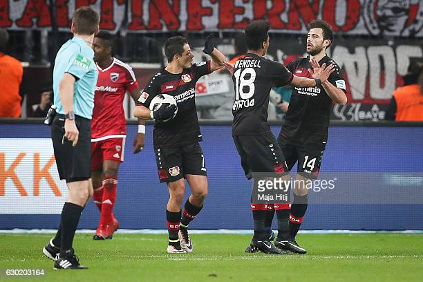 Admir Mehmedi of Leverkusen celebrates with his teammates after scoring a goal to make it 11 during the Bundesliga match between Bayer 04 Leverkusen...