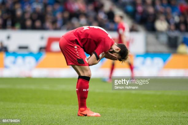 Admir Mehmedi of Leverkusen reacts during the Bundesliga match between TSG 1899 Hoffenheim and Bayer 04 Leverkusen at Wirsol RheinNeckarArena on...