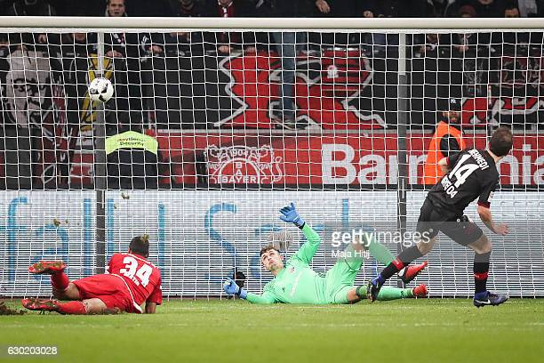 Admir Mehmedi of Leverkusen scores his team's first goal to make it 11during the Bundesliga match between Bayer 04 Leverkusen and FC Ingolstadt 04 at...