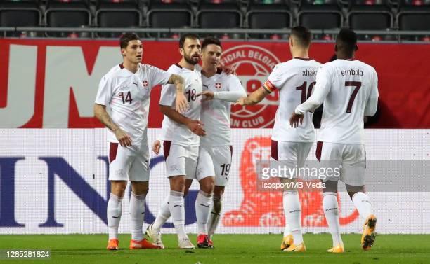 Admir Mehmedi of Switzerland celebrates after scoring the 0-1 goal during the international friendly match between Belgium and Switzerland at King...