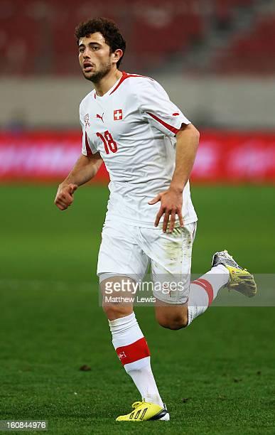 Admir Mehmedi of Switzerland in action during the International Friendly match between Greece and Switzerland at Karaiskakis Stadium on February 6...
