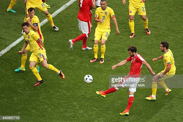 Admir Mehmedi of Switzerland scores a goal to make the score 11 during the UEFA EURO 2016 Group A match between Romania and Switzerland at Parc des...
