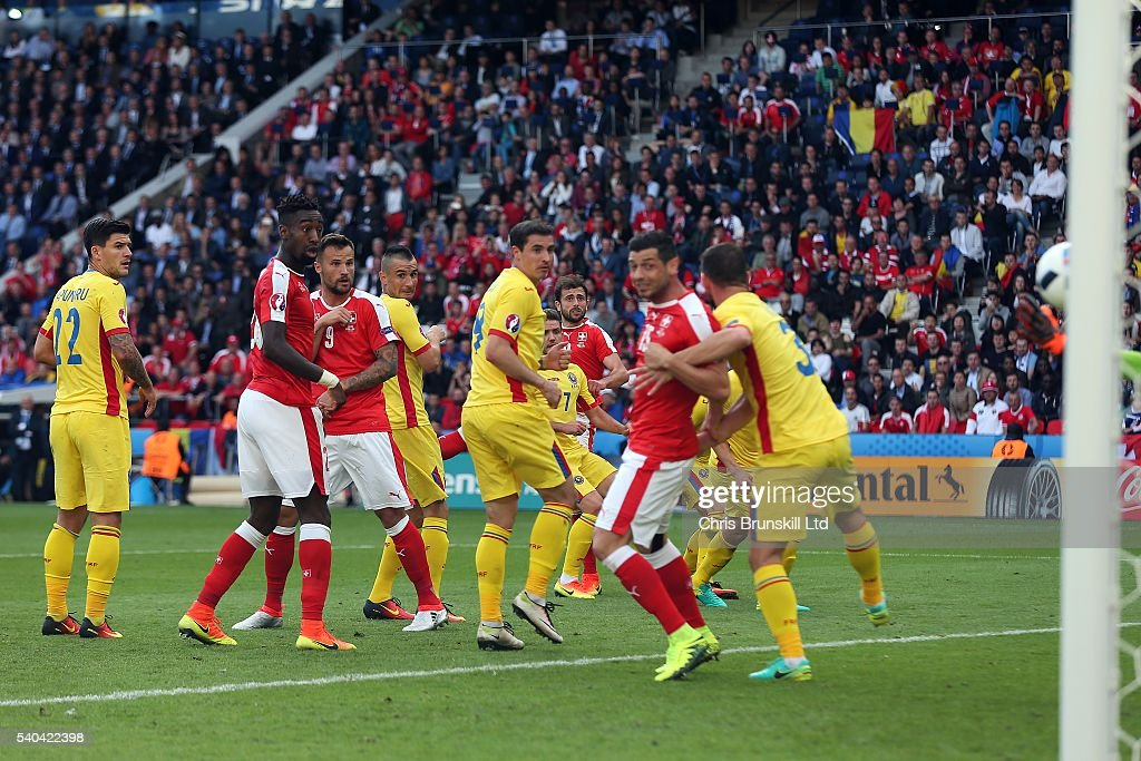 Admir Mehmedi of Switzerland scores his sides first goal during the UEFA Euro 2016 Group A match between Romania and Switzerland at Parc des Princes on June 15, 2016 in Paris, France.