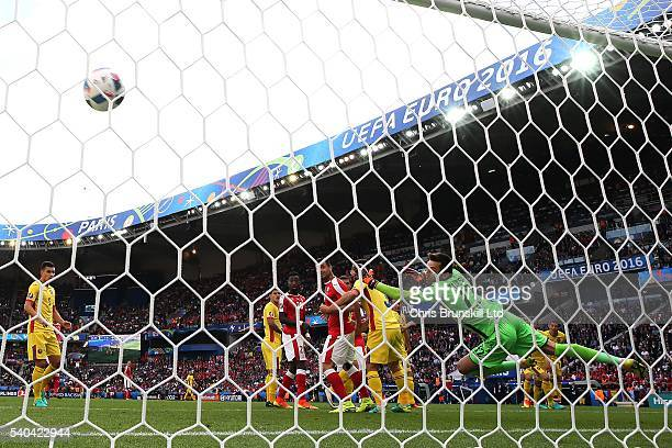 Admir Mehmedi of Switzerland scores his sides first goal during the UEFA Euro 2016 Group A match between Romania and Switzerland at Parc des Princes...
