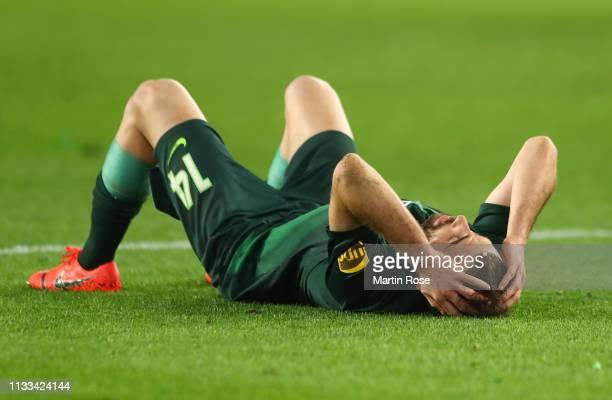 Admir Mehmedi of VfL Wolfsburg reacts after the Bundesliga match between VfL Wolfsburg and SV Werder Bremen at Volkswagen Arena on March 03 2019 in...