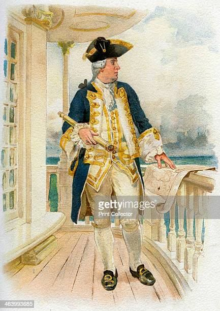 Admiral 18th century A print from Her Majesty's Navy Including its Deeds and Battles by Lieut Chas Rathbone Low Volume I JS Virtue Co London 18901893