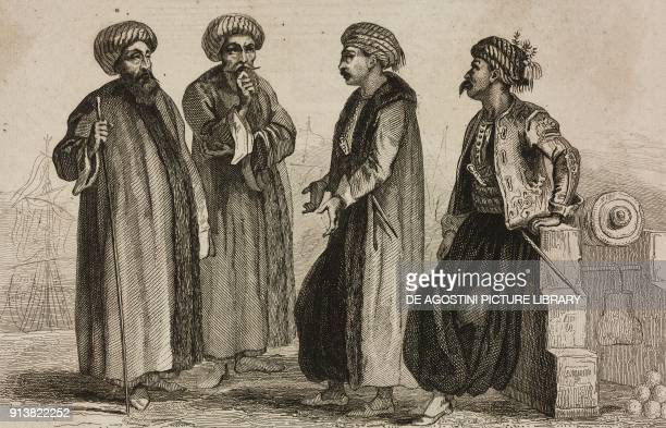 1 Admiral 2 Captain 3 Navy officer 4 Sailor Turkey engraving by Lemaitre Lalaisse and Monnin from Turquie by Joseph Marie Jouannin and Jules Van...