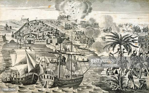 Admiral Duperre's navy bombarding the port of Algiers during the colonial wars 4 July 1830 Algeria 19th century