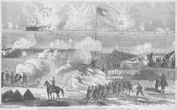Admiral DuPont's Fleet opens fire on Fort Sumter Fort Sumter South Carolina April 7 1863