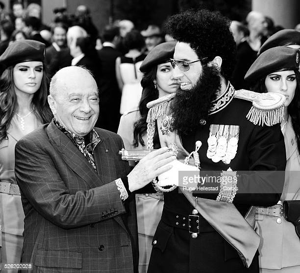 Admiral General Aladeen aka Sacha Baron Cohen and Mohamed AlFayed attend the premiere of The Dictator at Royal Festival Hall