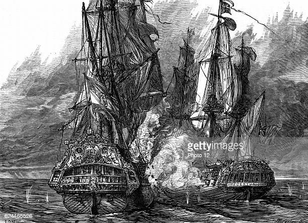 Admiral George Anson English naval commander in the 'Centurion' taking the Spanish galleon 'Nostra Signora de Cabadonga' off the Philippines War of...