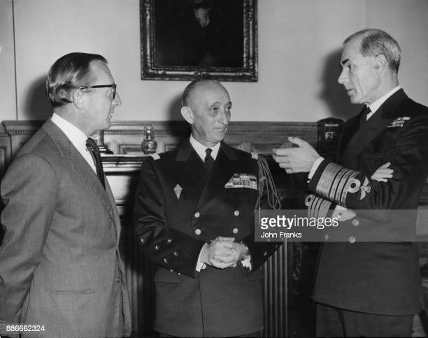 Admiral Georges Cabanier Chief of Staff of the French Navy with Lord Carrington First Lord of the Admiralty and Admiral Sir Caspar John the First Sea...