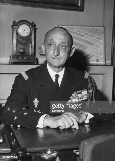 Admiral Georges Cabanier takes up office as Chief of Staff of the French Navy at the Ministry France 1st July 1960