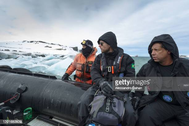 Admiral Guida accompanying the boarding procedure for the ship on November 04 2019 in King George Island Antarctica