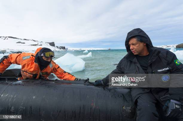 Admiral Guida responsible for Proantar in the ship's boarding procedure on November 04 2019 in King George Island Antarctica