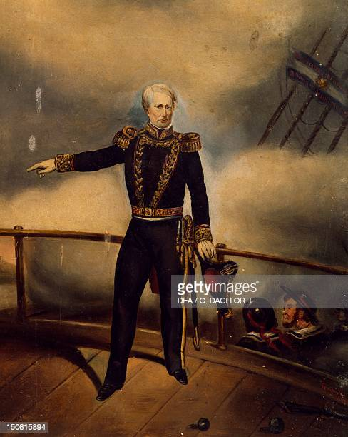 Admiral Guillermo Brown on the deck of the ship during the Battle of Los Pozos scene from the Rio de la Plata War Argentina 19th century