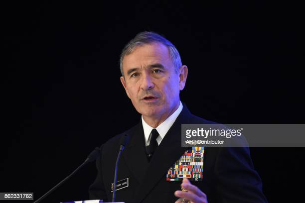 Admiral Harry B Harris Jr Commander United States Pacific Command delivers his speech on Challenges Opportunities and Innovation in the...