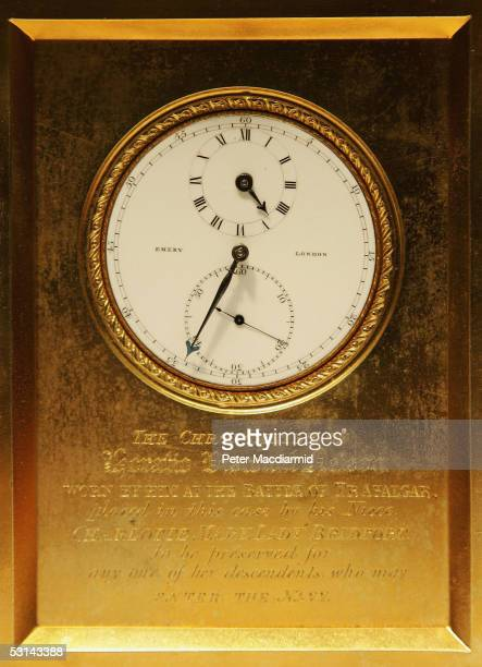 Admiral Heratio Nelson's pocket watch which has been rehoused in a carriage clock is displayed at Sotheby's on June 24 2005 in London The watch used...