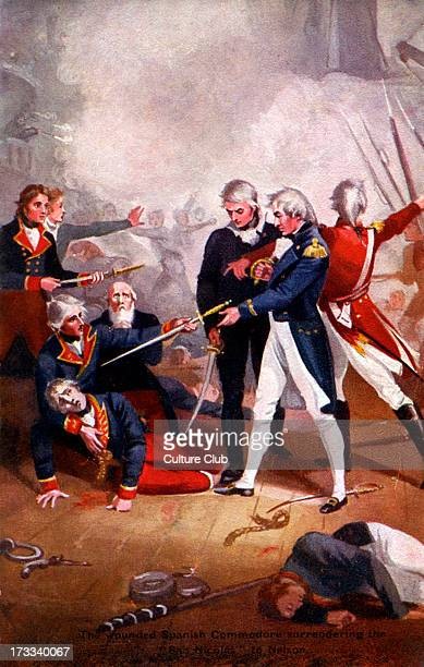 Admiral Horatio Nelson - 'Commodore Nelson boarding the 'San Josef'', 14 February 1797. British naval commander at the Battle of Trafalgar, 29...