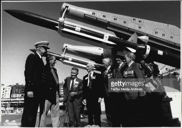 Admiral Jean Paul Bergot accompanied by WW II veteran Horrie George talks Tarrant Albert Biggs George French Herb Brown and Alex Barclay on board FNS...