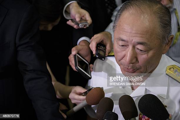 Admiral Katsutoshi Kawano Japan's chief of staff of the Joint Staff Council and SelfDefense Forces speaks to reporters at the Center for Strategic...
