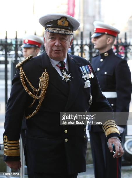 Admiral Lord Alan West arriving for a service of thanksgiving for the life and work of Sir Donald Gosling at Westminster Abbey in London