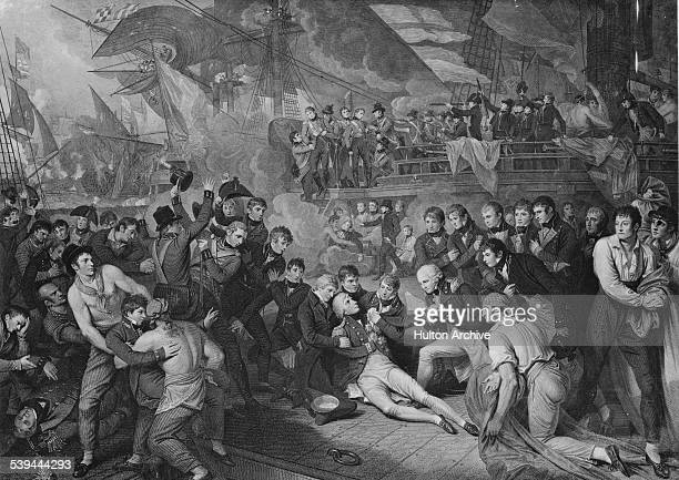 Admiral Lord Horatio Nelson lays mortally wounded on the quarterdeck of his flagship the HMS Victory at the Battle of Trafalgar fought between the...