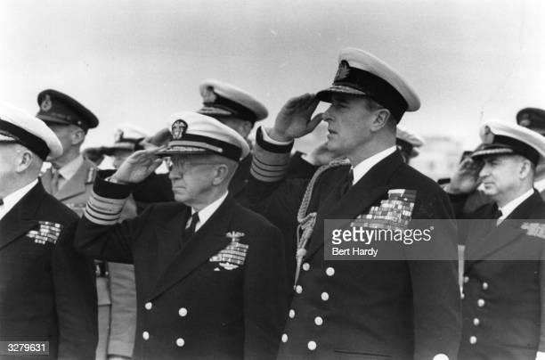 Admiral Lord Louis Mountbatten and Vice Admiral J Fife Jnr United States Original Publication Picture Post 8734 Mediterranean Fleet Manoeuvres unpub