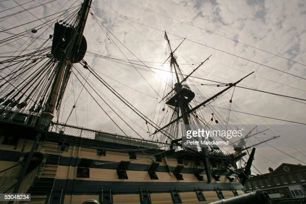 Admiral Lord Nelson's flagship HMS Victory stands in dry dock at Portsmouth Naval base on June 10 2005 in Portsmouth England This year will see...