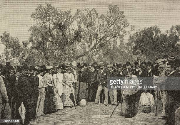 Admiral Michael CulmeSeymour's English crew in the garden of Pietro d'Ayala in Taranto Italy engraving after a photo from L'Illustrazione Italiana...