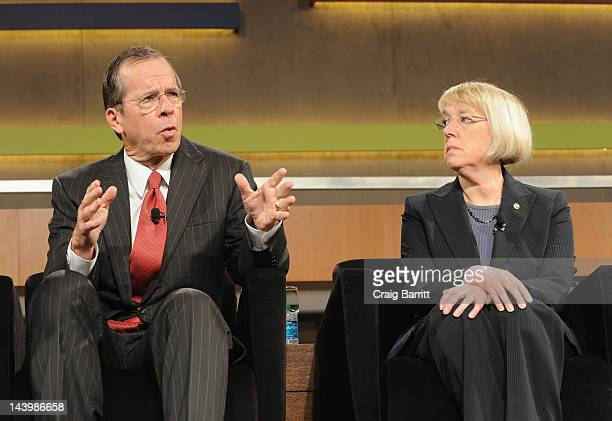 Admiral Michael G Mullen and Senator Patty Murray speak at the Robin Hood Veterans Summit at Intrepid SeaAirSpace Museum on May 7 2012 in New York...