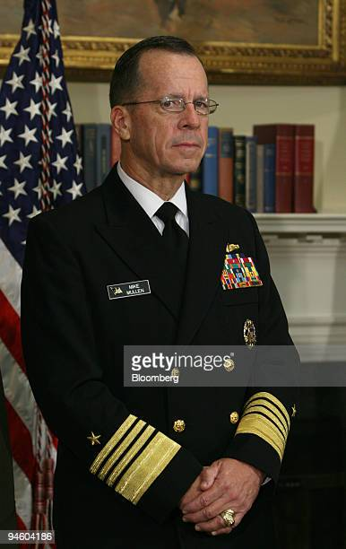 Admiral Michael Mullen listens after being introduced by President George W Bush as the official nominee to be Chairman of the Joint Chiefs of Staff...