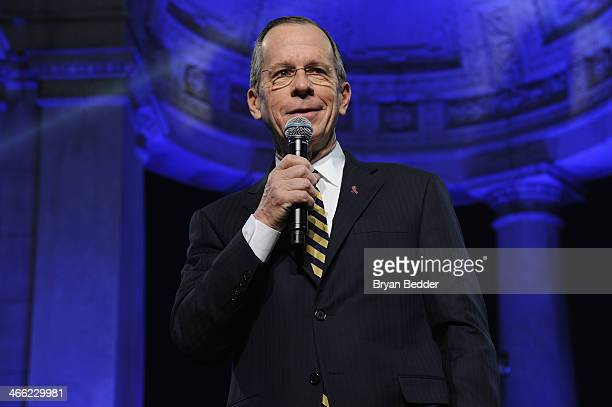 Admiral Michael Mullen speaks onstage at PepsiCo Honors Bob Woodruff Foundation With Blake Shelton Concert from #PEPCITY at Bryant Park on January 31...