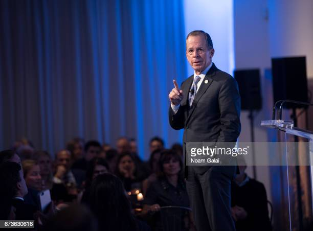 Admiral Michael Mullen speaks onstage at the 2017 New York City Salute to Service Awards at Metropolitan Pavilion on April 26 2017 in New York City